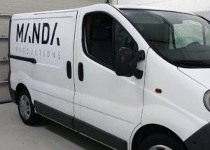 Belettering bedrijfswagen Manda Productions