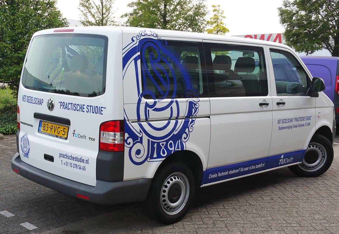 Belettering VW Transporter TU Delft