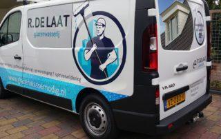 Belettering bedrijfswagen R. de Laat